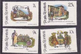 #163   ANNIVERSARY, EVENTS, CASTLE, KINGS,     FULL SET Mi. 4844/47 1992,  MNH**, ROMANIA. - 1948-.... Republiken