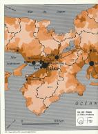 """Carte, Les Grandes Agglomérations Du Monde (1971) : """"MEGALOPOLIS JAPONAISE """" (30 Cm X 48 Cm) Tokyo, Osaka, Kyoto...TBE - Geographical Maps"""