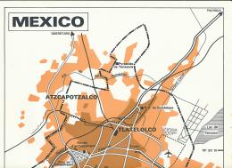 """Carte, Les Grandes Agglomérations Du Monde (1971) : """"MEXICO, MEXIQUE"""" (30 Cm X 48 Cm) TBE - Geographical Maps"""