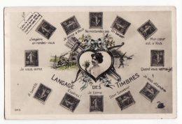 Cp  TIMBRES   Langage Du Timbre    Timbres Français - Timbres (représentations)