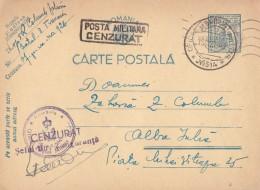 ROMANIAN OCCUPATION In UKRAINE - STATIONERY - TRANSNISTRIA To ROMANIA : 1943 - MILITARY CENSORSHIP - RARE !!! (u-933) - Entiers Postaux