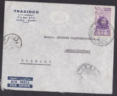 Egypt: Airmail Cover To Germany, 1955, 1 Stamp, Arab Postal Union, Overprint, Rare Real Use, Censored (traces Of Use) - Egitto