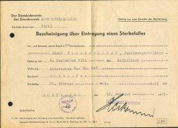 1940/43 Zur Erinnerung, Bescheinigung Uber Eintragung Eines Sterbefalles Stadesamts SONTHOFEN, ALLGAU, Finsterhalzl - Announcements