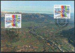 1995 Switzerland Liechtentein Sevelen Vaduz Joint Issue Maxicard, Maximum Card - Maximum Cards
