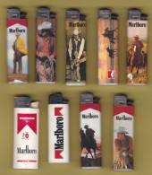 Lot De 9 Briquets Usagés.Feudor. Marlboro.tabac.cigarette.lighter.cow Boy.... - Briquets