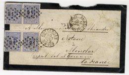 ROTTERDAM  PAYS BAS   1872   - ENVELOPPE POSTALE AVEC 4 TIMBRES 5 CENT  MONCLAR D AGENAIS - Briefe U. Dokumente