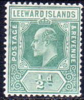 LEEWARD ISLANDS 1907 SG #37 ½d MH - Leeward  Islands