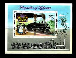 LIBERIA  1973 HISTORICAL RAILWAYS M/S Switzerland Use/CTO FINE USED  (LOT - 6 - 361) - Trains