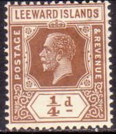 LEEWARD ISLANDS 1922 SG #58 ¼d MH Wmk Mult. Script CA Die II - Leeward  Islands