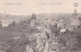 19 TREIGNAC  Série La CORREZE Illustrée  Jolie Vue Plongeante Maisons Route EGLISE à Travers CHAMPS - Treignac