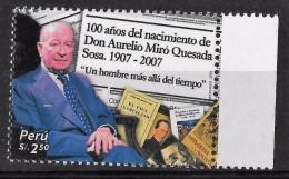 Peru 2008 Birth Cent Aurelio Miro Quesada, Literature, Writer, Books, Inca Garcilazo 1 Value Complete - Peru