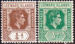 LEEWARD ISLANDS 1938 SG #95-96 ¼d,½d MH - Leeward  Islands