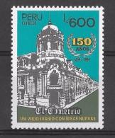 Peru 1989, Newspaper El Comercio, 150 Th Anniversary, Builing, Press, Media,  1 Value - Peru