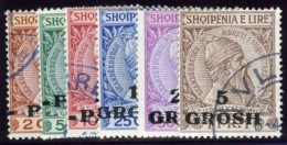 Albania, April 1914. Scott #47-52. Stanley Gibbons #40-45. Michel #41-46. Surcharged Values. Used. - Albania