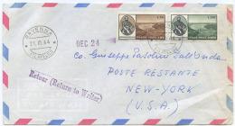 1964 VERRAZZANO L. 30 + 130 SPLENDIDA BUSTA AEREA 21.11.64 PER USA (A770) - 6. 1946-.. Repubblica