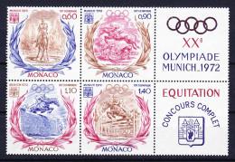 MONACO 1972 YT N° 890 à 893 ** AVEC VIGNETTES - Unused Stamps