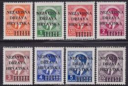 4625. Croatia NDH 1941 Definitive With Overprint, MH (*) Michel 1-8 - Croatie