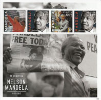 St Kitts 2013 MNH Nelson Mandela II 4v M/S In Memoriam Death Father Freedom - Famous People