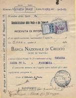 1925 Francobolli Pubblicitari C. 50 COEN Ricevuta Ritorno Da Napoli Per Floridia - Uso Tassazione Singolo - Varietà - 1900-44 Vittorio Emanuele III