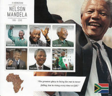 Tanzania 2013 MNH Nelson Mandela 1918-2013 In Memoriam 6v M/S I Death ANC Leader - Famous People