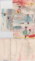 Splendide Lot 4 Enveloppes Aquarelle Japon 1950 - Vieux Papiers