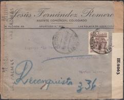 España 1944. Canarias. Carta De Las Palmas A Buenos Aires. Doble Censura. - Marcas De Censura Nacional
