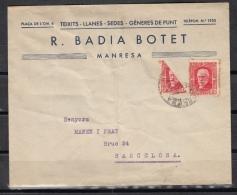 España 1937. Carta De Manresa A Barcelona. Uso Fraccionado. - 1931-Hoy: 2ª República - ... Juan Carlos I