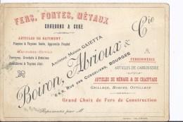 1 Carte Publicitaire Fers,Fontes,Métaux.Boiron, Albrioux & Cie. Bourges - Bourges