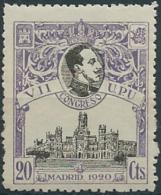 ES302STV-LFT***302STCFR.España.Spain. Espagne.REY ALFONSO Xlll.UPU .1920.(Ed 302**)  Sin  Charnela - Case Reali