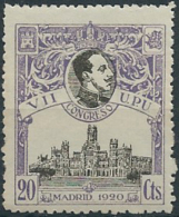 ES302STV-LFT***302STCFR.España.Spain. Espagne.REY ALFONSO Xlll.UPU .1920.(Ed 302**)  Sin  Charnela - Familias Reales