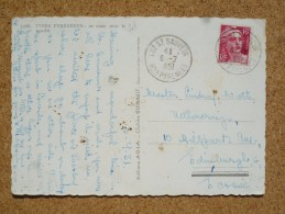 Carte Postale Affranchie Type Gandon Oblitération Luz St Sauveur Hautes-Pyrénées Tarif Pour L'Ecosse - Poststempel (Briefe)