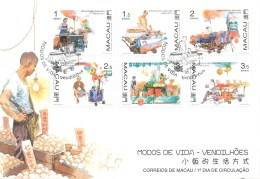 CHINE - MACAU - SERIE DE 6 TIMBRES SUR FRAGMENT DE LETTRE - 1998 - Série N° 889 à 894 - Lettres & Documents