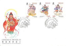 """CHINE - MACAU - SERIE DE 3 TIMBRES SUR FRAGMENT DE LETTRE  """"Légendes & Mythes""""- 1996 - Série N° 811 à 813 - 1999-... Région Administrative Chinoise"""