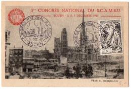 Carte Souvenir 'Congrès National SCAMRU' Rouen 1947 - 1921-1960: Periodo Moderno