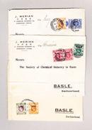 3 Briefe Vorderseite  (Front)  Von Schanghai Nach Basel Frankiert Mit Gesamt 7 Hong-Kong Marken Mit Überdruck China - China