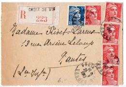 Gandon 5F + 6F X5 Sur Lettre Recommandée De 1948 - Postmark Collection (Covers)