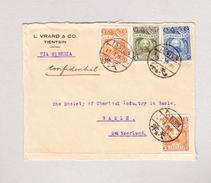 China Briefvorderseite (Front) Tientsin Nach Basel Mit 4 Marken Der 1928 Serie - 1912-1949 République