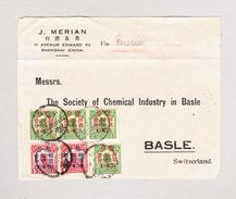 China Briefteil (part Cover) Von Shanghai Nach Basel Mit Überdruck Marken 1c Auf 2c (4) Und 3c Auf 4c (2) - 1912-1949 République