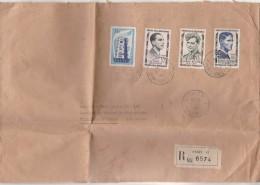 Yvert 1077 Europa + 1101 + 1102 + 1103 Héros Résistance Sur Lettre Recommandée Paris 51 5/6/1957 Pour Mechives 33 - France