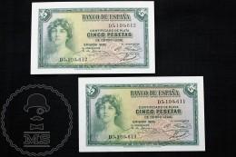 Spain/ España 5 Pesetas/ Ptas Spanish Republic Banknotes - Correlative Pair - Issued 1935, D Series - EF Quality - [ 2] 1931-1936 : República