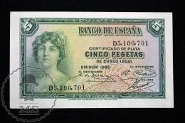 Spain/ España 5 Pesetas/ Ptas Spanish Republic Banknote - Issued 1935, D Series - EF+ Quality - [ 2] 1931-1936 : République