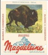 BUVARD BISCOTTES MAGDELEINE - BISON D'AMERIQUE - Carte Assorbenti
