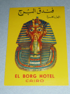 Rare Ancienne étiquette D'Hotel, El Borg Hotel, Cairo, Le Caire, Egypt Egypte, Masque De Toutankhamon - Other