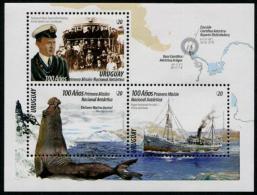 Uruguay 2016 National Antarctic Mission Sheetlet Of 3 Different (Elephant Seal, Ship) MNH** - Uruguay