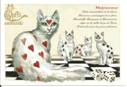 CPM Illustrée, Humour, Chat Sur Damier, Jeu Cartes Dés - Coeur Trèfle Pique Carreau - Dessin Severine Pineaux - Illustrators & Photographers