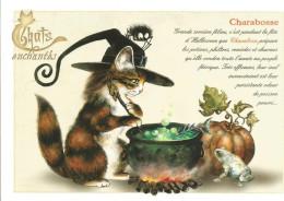 CPM Illustrée Chat - Sorcière 'charabosse' Chaudron, Crapaud Ou Grenouille - Dessin Severine Pineaux - Illustrators & Photographers