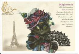 CPM Illustrée Chatte Noire élégante, Chapeau, éventail Dentelle, Tour Eiffel - Dessin Severine Pineaux, Chats Enchantés - Gatti