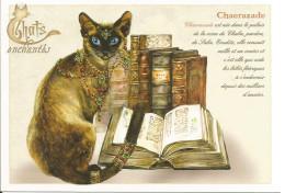 CPM Illustrée Chat Siamois, Livre Ancien, Bijoux, Pierres Précieuses - Dessin Severine Pineaux 'Chaerazade' - Illustratoren & Fotografen