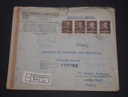 ROUMANIE - Enveloppe Commerciale En Recommandée Expres Pour La France En 1943 Avec Contrôle Postal - A Voir - L 1887 - Marcofilia