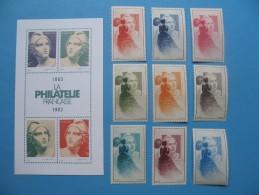 """Lot De 9 Vignettes + 1 Bloc Feuillet 4 Neuf ** TB """"  La Philatélie Française   """" - Commemorative Labels"""